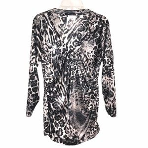 New York & Company V-neckline Ruched Leopard Top